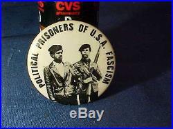 Orig 1960s POLITICAL PRISONERS of US Fascism BLACK PANTHER PINBACK