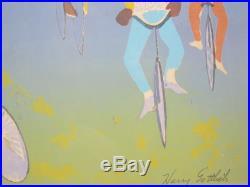 Orig HARRY GOTTLIEB Listed Ashcan Black Americana BICYCLES Silkscreen SIGNED yqz