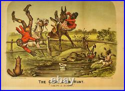 Original 1885 Currier & Ives Lithograph THE COON CLUB HUNT Taking a Header