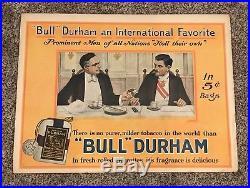 Original 1920s Bull Durham 5cent Tobacco Cardboard Sign 20x28 Nice