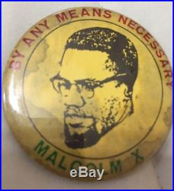 Original 1962 Malcolm X By Any Means Necessary Pin Button Black Power
