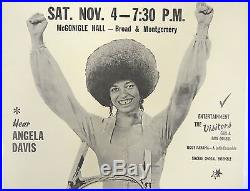 Original ANGELA DAVIS Communist Party rally poster Black Panthers 1972 BEAUTY