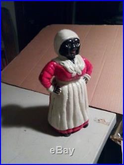 Original Antique Cast Iron Large Aunt Jemima Black Americana Coin Bank 1940s