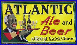 Original Atlantic Beer Black Americana Sign Restored