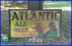 Original Atlantic Beer Black Americana Sign very rare advertisemen