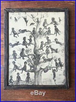 Original Black Americana 1909 Menoravilia Blackbirds Print Original withWood Frame