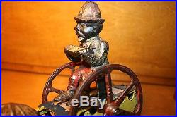 Original Black Americana Cast Iron Bad Accident Mechanical Bank c 1888