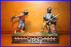 Original Black Americana Cast Iron Darktown Mechanical Bank J & E Stevens c 1888
