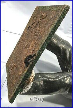 Original Cast Iron Lawn Jockey Statue Hitching Post Black Americana Jocko 24H