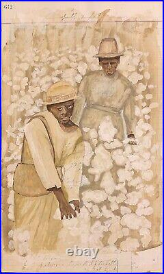 Original Contemporary African American Slave Painting Painted On 1876 Ledger