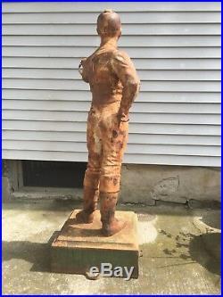 Original Paint Rare Magnificent Antique Cast Iron Lawn Jockey