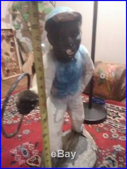 Oringinal cement Antique vintage Lawn Jockey Hiching Post. Rare, hard to find