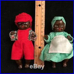 PAIR Black Americana Dolls Vintage Jointed Bisque Porcelain Boy and Girl, 5
