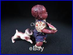 PRE-WAR BLACK AMERICANA POOR PETE & BULL DOG CELLULOID WINDUP TOY JAPAN WORKS