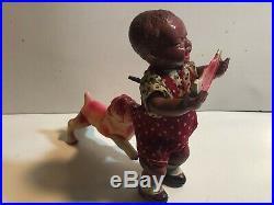 PRE WW 2 Japan CK Kuramochi Poor Pete Black Boy With Watermelon Wind Up Toy XLNT