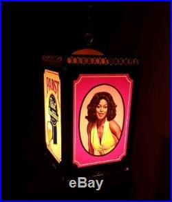 Pabst Blue Ribbon PBR Rotating Beer Sign Black Americana Hanging Motion Lamp