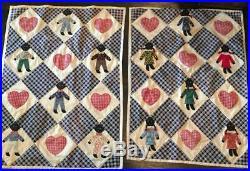 Pair 1940s Vintage Black Americana Appliqued Crib Quilts Boys & Girls