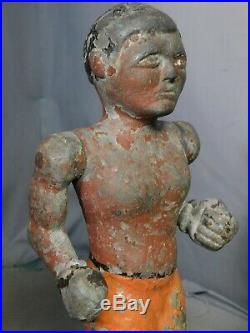 Pair Americana Folk Art Sculptures Cast Zinc Boxers OLD PAINT Arcade Game 1920's