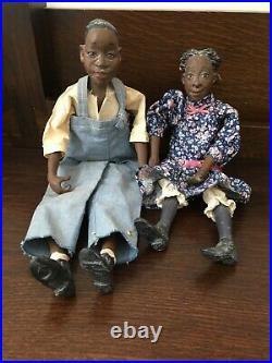 Pair Of Daddy Long Legs Dolls Junior & Phoebe Black Americana Karen Germany Euc