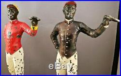 Pair Vint Black Americana 10 1/4 CAST IRON JOCKEY FIGURES Doorstops or Bookends