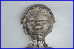 Pair of Antique 1800s Cast Iron Black Americana Andirons Man & Woman Figures