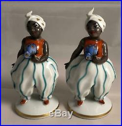 Pair of Wien Austria Porcelain Black Americana Figurines