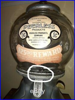 Peerless Bluebird Gambling Gumball Machine With Black Memorabilia