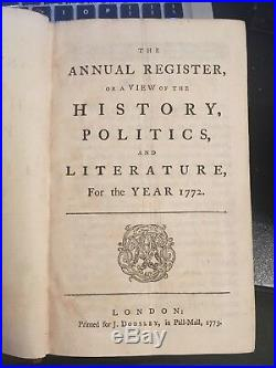 Phillis Wheatley's Poem Recollection In 1772'the Annual Register' 1st Edition