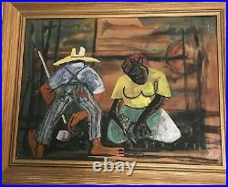 Powerful Black Picasso WALTER SANFORD Original Painting Signed Field Hands