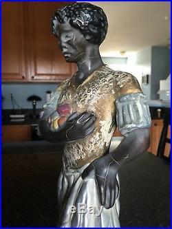 Pr Antique MCM glazed ceramic African Blackamoor Nubian 16 figures Americana