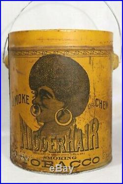 Pre-BIGGER Hair Tobacco Tin Black Americana B. LEIDERSDORF CO. Milwaukee, WI
