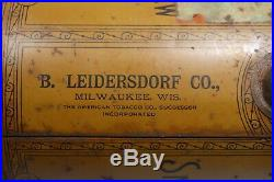 Pre BIGGER Hair Tobacco Tin Black Americana B. LEIDERSDORF CO. Milwaukee, WI LID