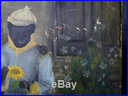 Primitive 1880's Black Americana Portraits Signed oil Painting. African American