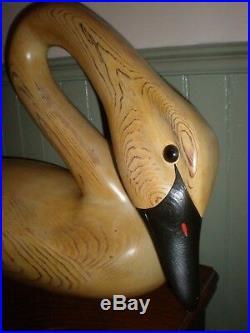 Primitive Folk Art Hand Carved Wood Whistling Swan Sculpture Artist Signed Large