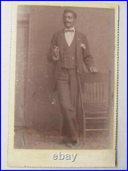 RARE 1880 Cabinet Photo With Cigar, African American Man, Greenwood, Mississippi