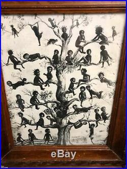 RARE 1909 Blackbirds W. F. Bell BLACK AMERICANA ORIGINAL IN ANTIQUE FRAME