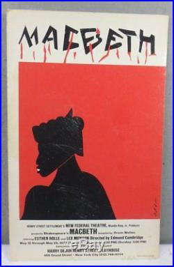RARE 1977 AFRICAN AMERICAN ROMARE BEARDEN Macbeth New Federal Theater POSTER