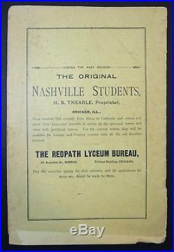 RARE 1st Slave Jubilee Songs Plantation Melodies Nashville Colored Students 1884