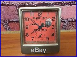 Rare Antique Ansonia Black Americana Advertising Niger Boy Cigarettes Tin Clock