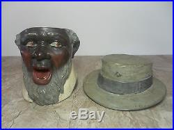 RARE ANTIQUE OLD BLACK MAN FIGURAL HUMIDOR TOBACCO JAR BERNHARD BLOCH Ca. 1900