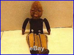 RARE Antique Black Americana Hand Sewn Doll with Glass Eyes & Painted Mouth