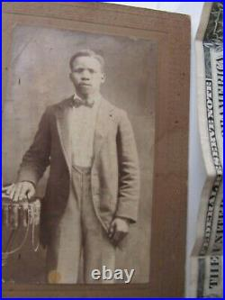 RARE Antique INSCRIBED LOVE Photograph of Young African American Man, c1900