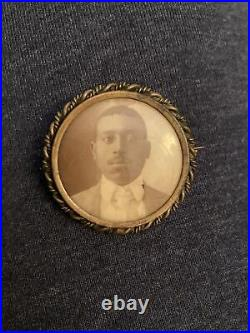 RARE Antique Mourning Pin African American Man Victorian/Early 1900s