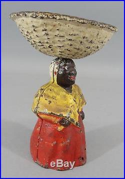 RARE Antique c1920s Cast Iron Hubley, Black Mammy Soap Dish, First Paint, NR