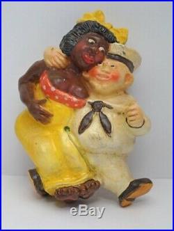 -RARE BLACK AMERICANA SAILOR With BLACK LADY CHALK WARE STRING HOLDER RARE