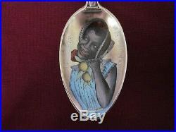 RARE BLACK AMERICANA Sterling Silver ENAMEL NEW ORLEANS Souvenir Spoon Watson Co