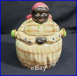 RARE BLACK AMERICANA VINTAGE PLAID MAMMY COOKIE/CRACKER/BISCUIT JAR HAndle