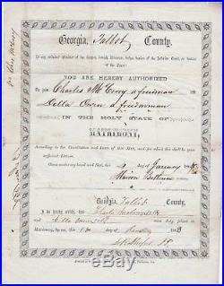 RARE Black Americana SLAVE Freedmen Bureau 1868 Marriage License Document