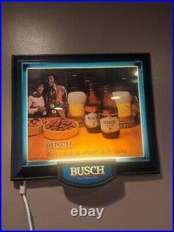 RARE Busch Beer Sign Black Americana Lighted Bar Sign Western Woman Cowboy