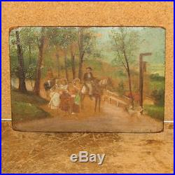 RARE EARLY 19TH C MINIATURE PAINTING OF SOUTHERN MEN HORSES WOMEN AND SLAVE GIRL